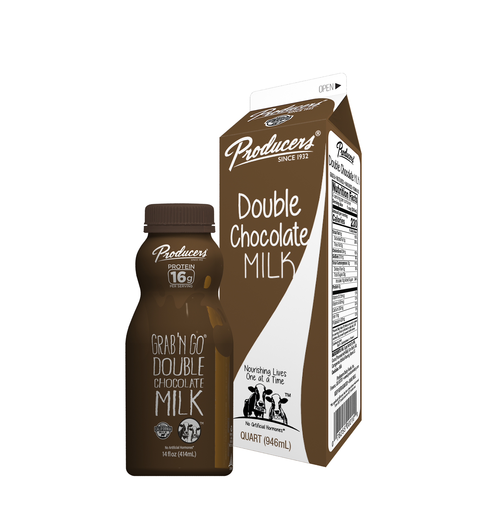 Double Chocolate Milk Family: Quart, Grab N Go