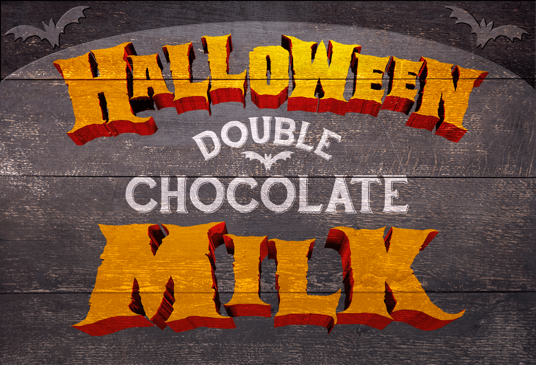 "Dark wood sign that says, ""Halloween Double chocolate Milk"""