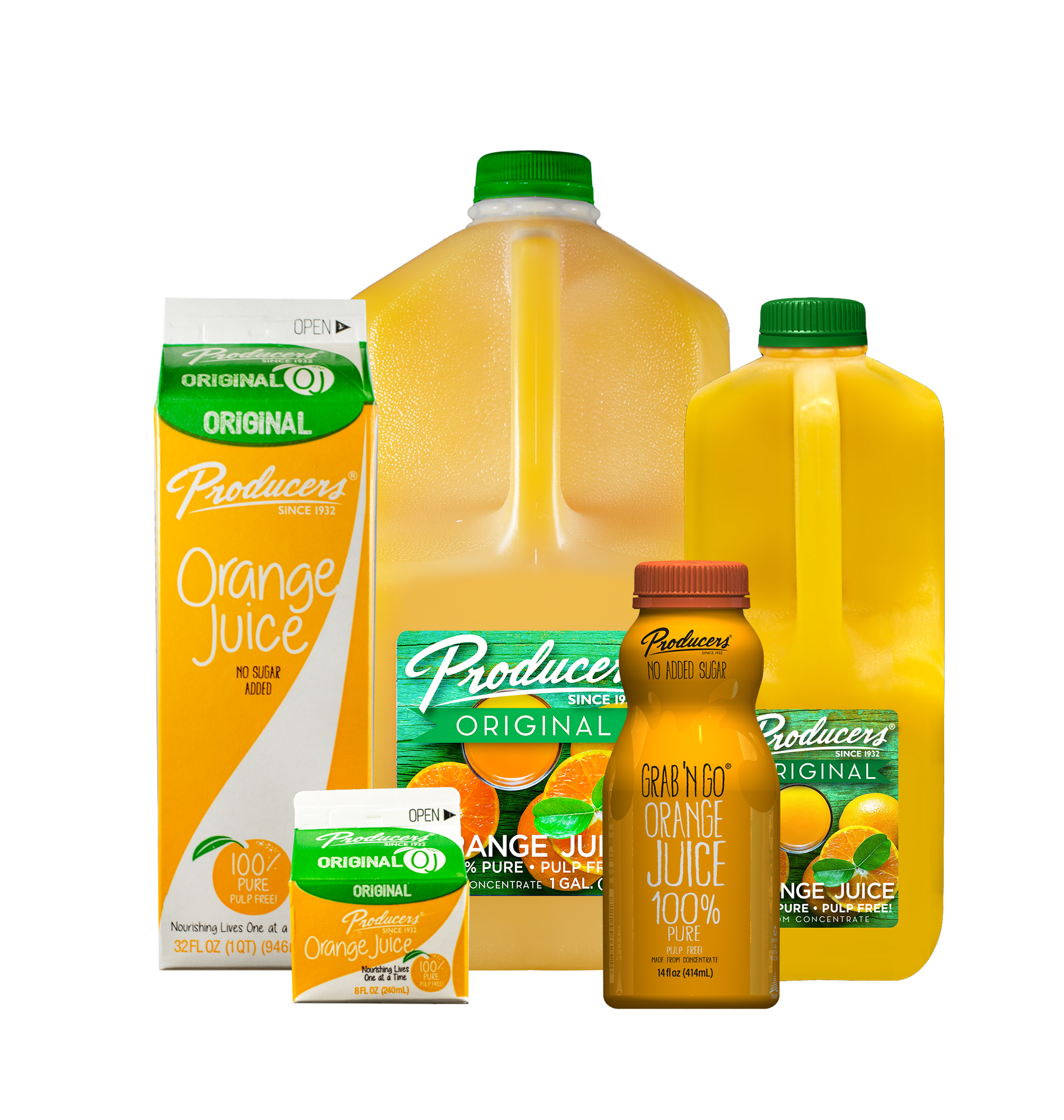 Producers Orange Juice Family: Gallon, Half Gallon, Quart, Grab N Go, 8 fluid ounces.