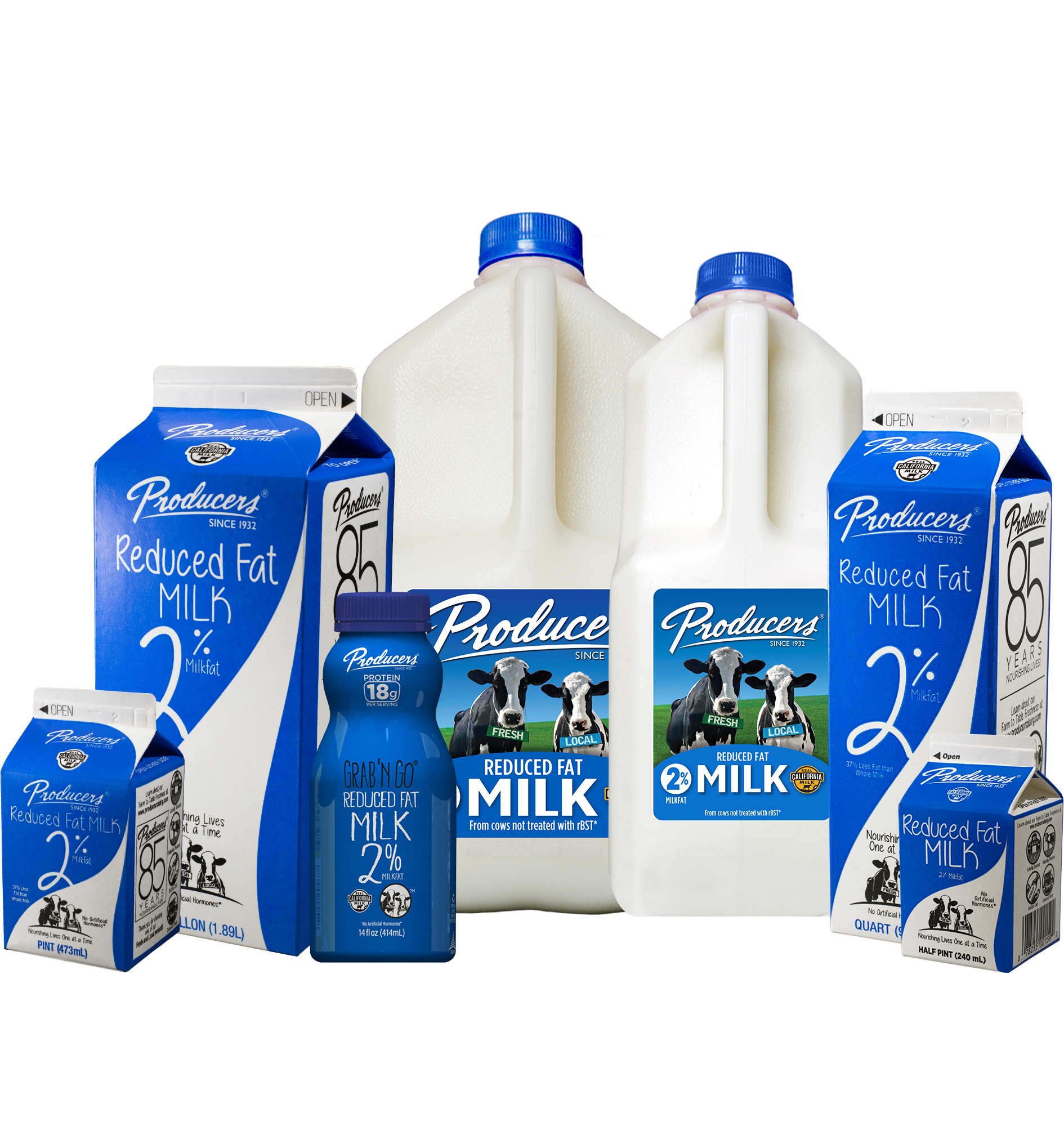 Producers Reduced Fat Milk Family: Gallon, Half Gallon Plastic, Half Gallon Carton, Quart, Grab N Go, Pint, Half Pint