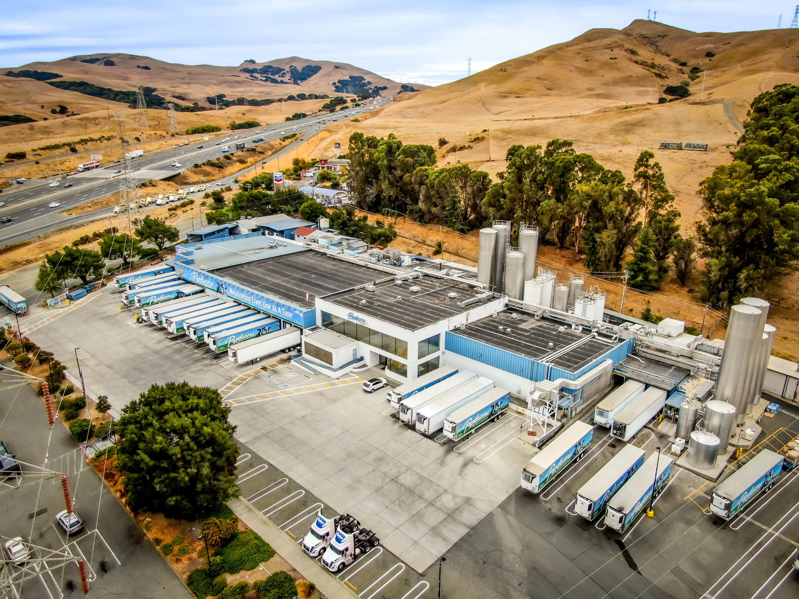 Overhead photo of Producers Dairy plant in Fairfield, California.