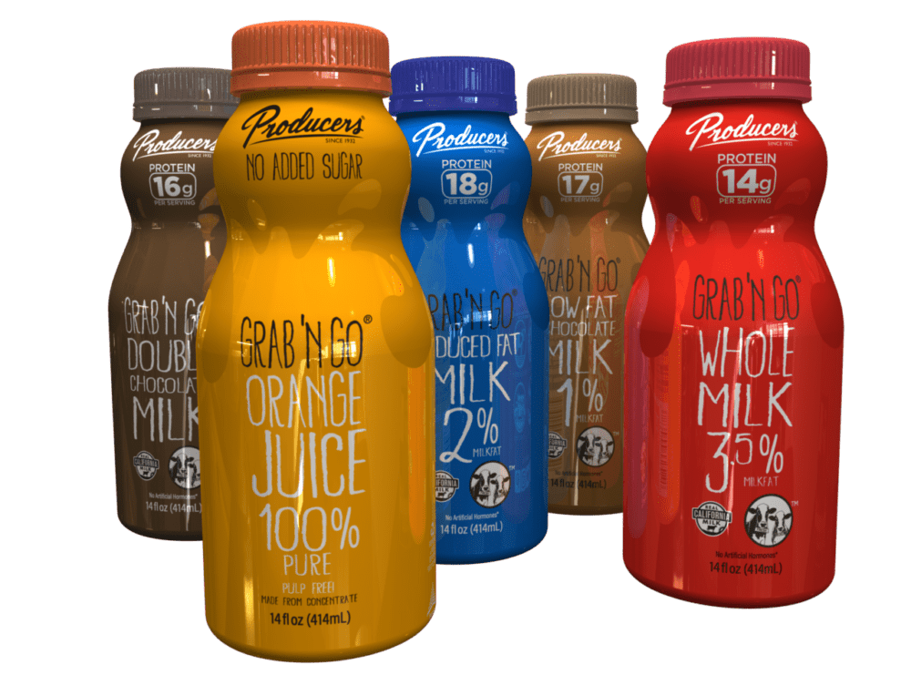 Producers Grab N Go bottles: Red Whole Milk Bottle, Light Brown Low Fat chocolate Bottle, Blue Reduced Fat Milk Bottle, Orange OJ Bottle, Dark Brown Double Chocolate Milk Bottle.